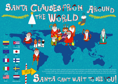 A look at Santa Clauses from Around the World. Colorful large map Illustration