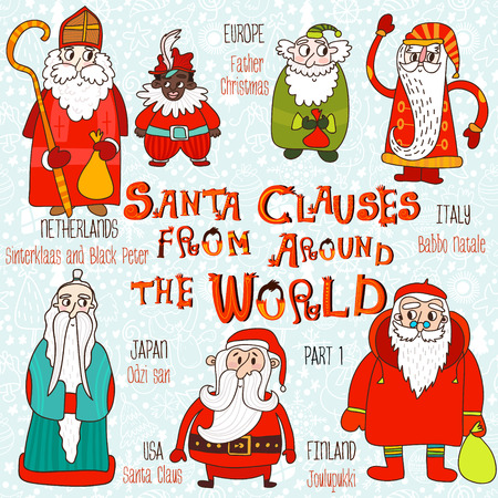 natale: Christmas set - Santa Clauses from Around the World. Part 1:Santa Claus, Joulupukki,Odzi-San,Babbo Natale,Father Christmas and Sinterklaas