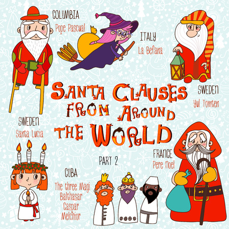 pere noel: Christmas set - Santa Clauses from Around the World. Part 2: Pope Pascual, La Befana, Pere Noel, Santa Lucia, Yul Tomten and The three Magi: Balthasar, Caspar, Melchior
