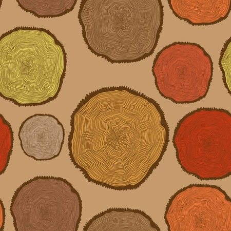 Seamless pattern with Tree Rings in vintage colors.Bright Seamless pattern can be used for wallpaper, pattern fills, web page background,surface textures.