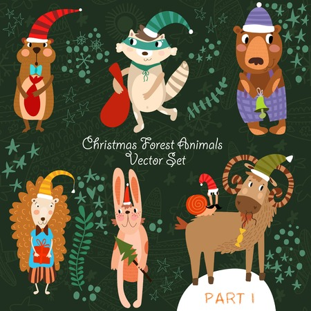 Cute Christmas vector set of  Woodland and Forest Animals.Gopher, bear, hedgehog, wolf, raccoon, goat,snail.Part I (All objects are isolated groups so you can move and separate them) Vector