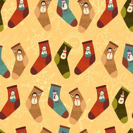 StylishRetro  Merry Christmas seamless pattern with cute socks and  cartoon snowmans in vector.  Seamless pattern can be used for wallpapers, pattern fills, web page backgrounds Vector
