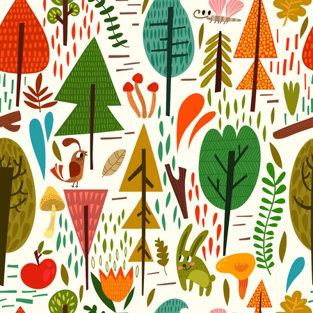Cute forest background with different  trees, bird and other in vector. Seamless pattern can be used for wallpapers, pattern fills, web page backgrounds, surface textures