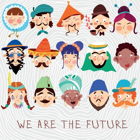 nationalities: We Are The Future. Concept friendly card with 15 different nationalities : Chinese, Japanese, African French,Mexican, German and other. Cute  design -characteristic faces