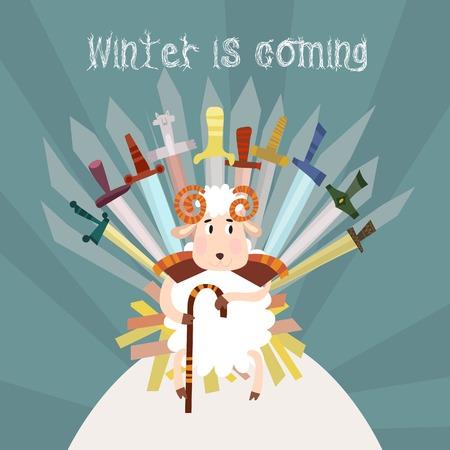 trono: El invierno es coming.Merry Navidad y Feliz Año Nuevo tarjeta en el vector con ovejas de dibujos animados.