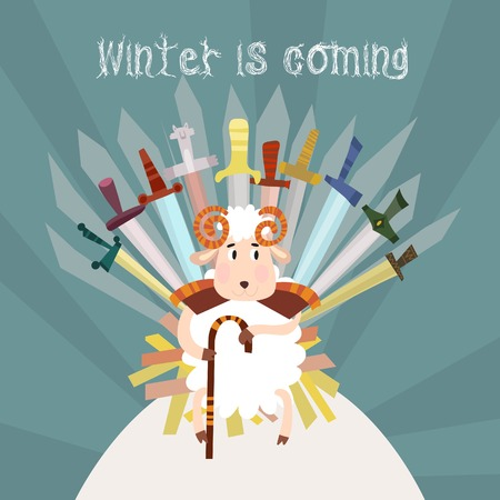 throne: Winter is coming.Merry Christmas and Happy New Year card in vector with cartoon sheep. Illustration