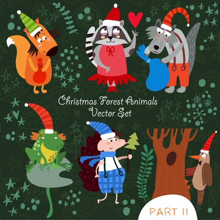 Cute Christmas vector set of  Woodland and Forest Animals.Squirrel, frog, woodpecker, hedgehog, wolf, raccoon.Part II (All objects are isolated groups so you can move and separate them) Ilustração
