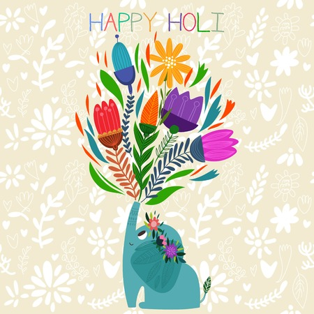 festival occasion: Happy Holi - concept vector card-Indian festival Happy Holi celebrations -with cute elephant Design in a colorful style.