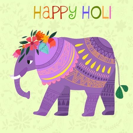 dhulandi: Happy Holi - concept vector card-Indian festival Happy Holi celebrations -with cute elephant Design in a colorful style.