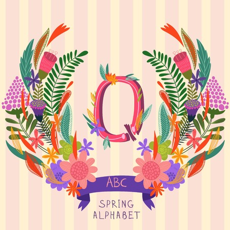 syllable: The letter Q. Floral hand drawn monogram made of flowers and leafs in vector. Spring floral ABC element in vector. Can be used for posters, cards, blogs, backgrounds and any  stylish designs