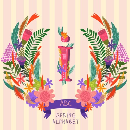 syllable: The letter I. Floral hand drawn monogram made of flowers and leafs in vector. Spring floral ABC element in vector. Can be used for posters, cards, blogs, backgrounds and any  stylish designs Illustration