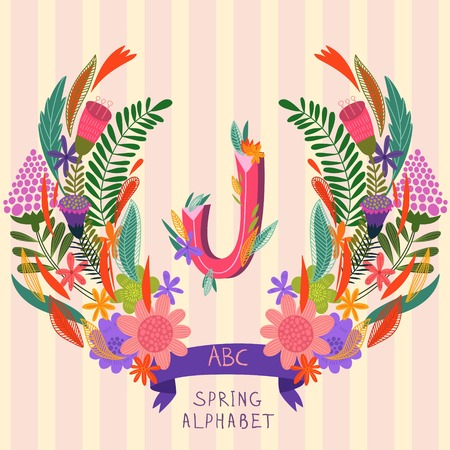 syllable: The letter J. Floral hand drawn monogram made of flowers and leafs in vector. Spring floral ABC element in vector. Can be used for posters, cards, blogs, backgrounds and any  stylish designs Illustration
