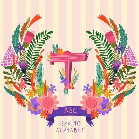 syllable: The letter T. Floral hand drawn monogram made of flowers and leafs in vector. Spring floral ABC element in vector. Can be used for posters, cards, blogs, backgrounds and any  stylish designs Illustration