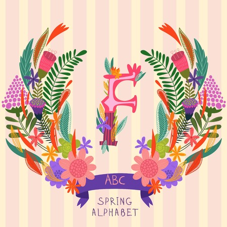 syllable: The letter F. Floral hand drawn monogram made of flowers and leafs in vector. Spring floral ABC element in vector. Can be used for posters, cards, blogs, backgrounds and any  stylish designs Illustration