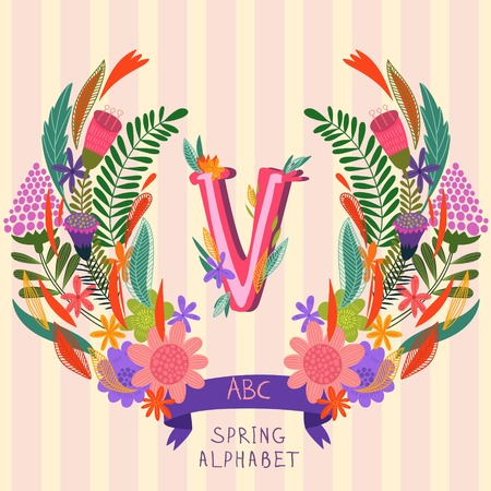 syllable: The letter V. Floral hand drawn monogram made of flowers and leafs in vector. Spring floral ABC element in vector. Can be used for posters, cards, blogs, backgrounds and any  stylish designs