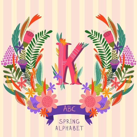 syllable: The letter K. Floral hand drawn monogram made of flowers and leafs in vector. Spring floral ABC element in vector. Can be used for posters, cards, blogs, backgrounds and any  stylish designs Illustration
