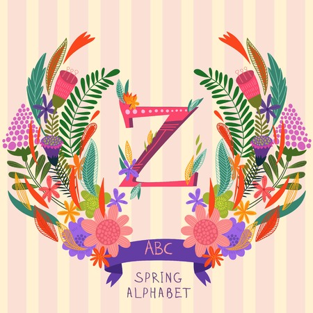 syllable: The letter Z. Floral hand drawn monogram made of flowers and leafs in vector. Spring floral ABC element in vector. Can be used for posters, cards, blogs, backgrounds and any  stylish designs