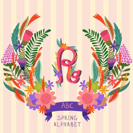 syllable: The letter R. Floral hand drawn monogram made of flowers and leafs in vector. Spring floral ABC element in vector. Can be used for posters, cards, blogs, backgrounds and any  stylish designs