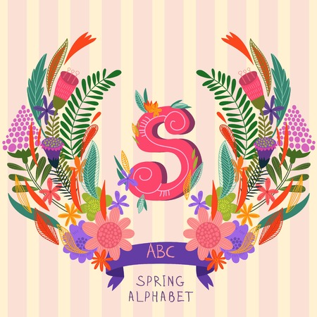grass isolated: The letter S. Floral hand drawn monogram made of flowers and leafs in vector. Spring floral ABC element in vector. Can be used for posters, cards, blogs, backgrounds and any  stylish designs Illustration