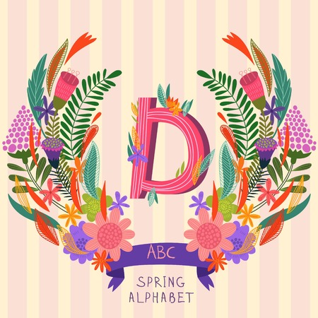 syllable: The letter D. Floral hand drawn monogram made of flowers and leafs in vector. Spring floral ABC element in vector. Can be used for posters, cards, blogs, backgrounds and any  stylish designs Illustration