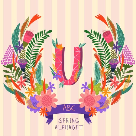 syllable: The letter U. Floral hand drawn monogram made of flowers and leafs in vector. Spring floral ABC element in vector. Can be used for posters, cards, blogs, backgrounds and any  stylish designs Illustration