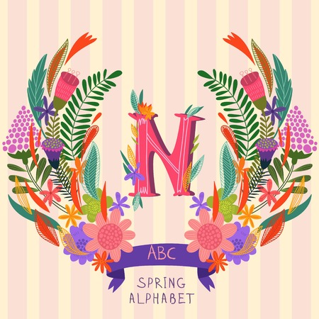 syllable: The letter N. Floral hand drawn monogram made of flowers and leafs in vector. Spring floral ABC element in vector. Can be used for posters, cards, blogs, backgrounds and any  stylish designs