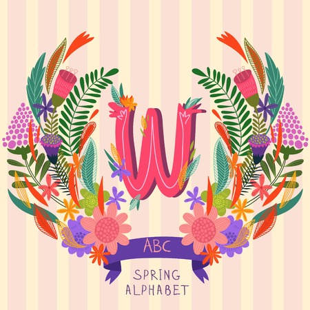 syllable: The letter W. Floral hand drawn monogram made of flowers and leafs in vector. Spring floral ABC element in vector. Can be used for posters, cards, blogs, backgrounds and any  stylish designs Illustration