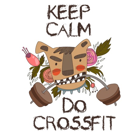 cross: Concept Vector Card-Keep Calm and Do Crossfit. Vector background.