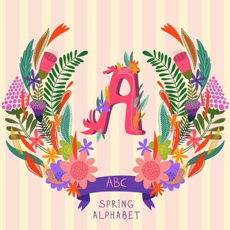 syllable: The letter A. Floral hand drawn monogram made of flowers and leafs in vector. Spring floral ABC element in vector. Can be used for posters, cards, blogs, backgrounds and any  stylish designs Illustration