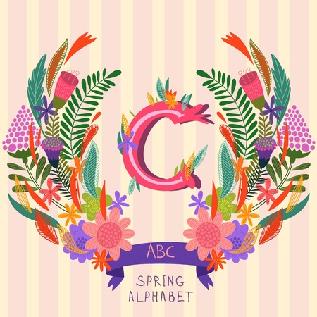 syllable: The letter C. Floral hand drawn monogram made of flowers and leafs in vector. Spring floral ABC element in vector. Can be used for posters, cards, blogs, backgrounds and any  stylish designs