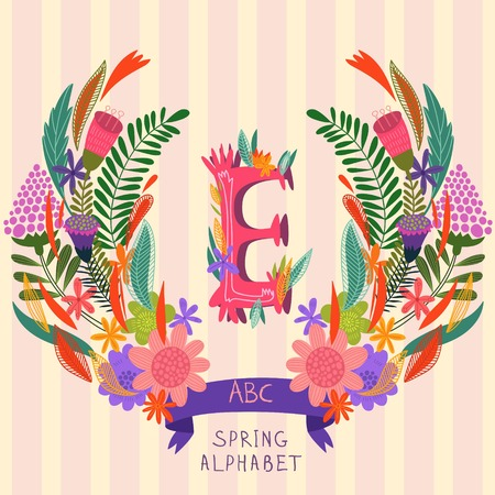 syllable: The letter E. Floral hand drawn monogram made of flowers and leafs in vector. Spring floral ABC element in vector. Can be used for posters, cards, blogs, backgrounds and any  stylish designs Illustration