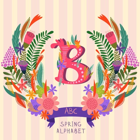 syllable: The letter B. Floral hand drawn monogram made of flowers and leafs in vector. Spring floral ABC element in vector. Can be used for posters, cards, blogs, backgrounds and any  stylish designs