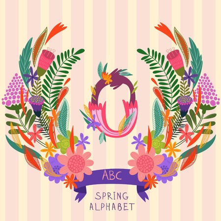 syllable: The letter O. Floral hand drawn monogram made of flowers and leafs in vector. Spring floral ABC element in vector. Can be used for posters, cards, blogs, backgrounds and any  stylish designs