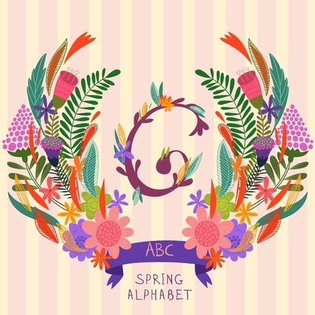 syllable: The letter G. Floral hand drawn monogram made of flowers and leafs in vector. Spring floral ABC element in vector. Can be used for posters, cards, blogs, backgrounds and any  stylish designs