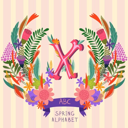 syllable: The letter X. Floral hand drawn monogram made of flowers and leafs in vector. Spring floral ABC element in vector. Can be used for posters, cards, blogs, backgrounds and any  stylish designs Illustration