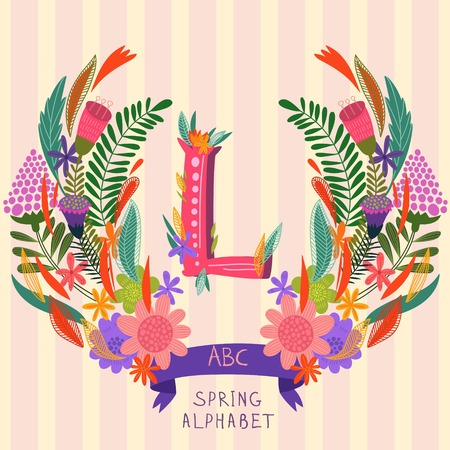 syllable: The letter L. Floral hand drawn monogram made of flowers and leafs in vector. Spring floral ABC element in vector. Can be used for posters, cards, blogs, backgrounds and any  stylish designs