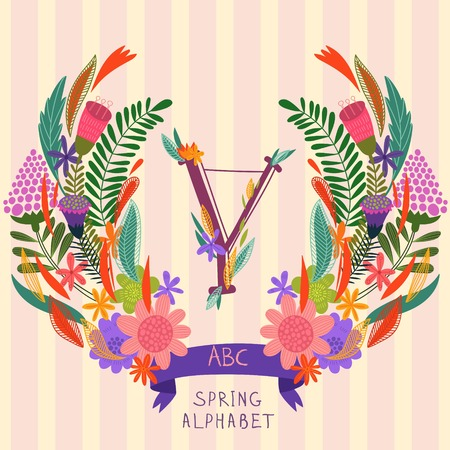 syllable: The letter Y. Floral hand drawn monogram made of flowers and leafs in vector. Spring floral ABC element in vector. Can be used for posters, cards, blogs, backgrounds and any  stylish designs