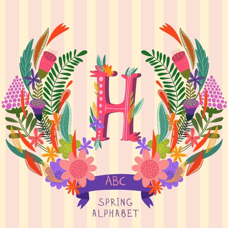 syllable: The letter H. Floral hand drawn monogram made of flowers and leafs in vector. Spring floral ABC element in vector. Can be used for posters, cards, blogs, backgrounds and any  stylish designs