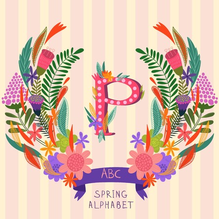 syllable: The letter P. Floral hand drawn monogram made of flowers and leafs in vector. Spring floral ABC element in vector. Can be used for posters, cards, blogs, backgrounds and any  stylish designs Illustration