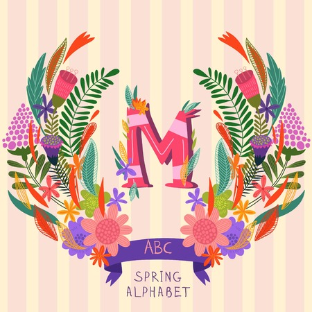syllable: The letter M. Floral hand drawn monogram made of flowers and leafs in vector. Spring floral ABC element in vector. Can be used for posters, cards, blogs, backgrounds and any  stylish designs