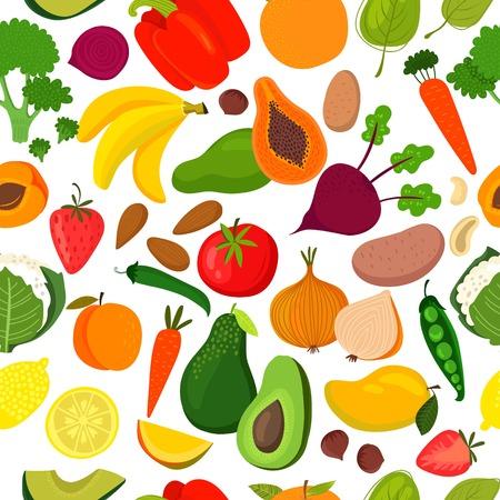 Bright tasty seamless pattern with banana, mango, papaya, orange, lemon, strawberry, avocado,peach,spinach, broccoli, carrots, beet, pepper, cauliflower, potatoes, onion, tomatoes and green peas