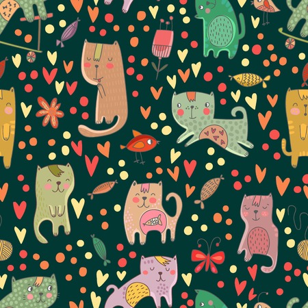 Childish seamless pattern with cats and fish in vector. Seamless pattern can be used for wallpapers, pattern fills, web backgrounds,surface textures. Gentle childish wallpaper