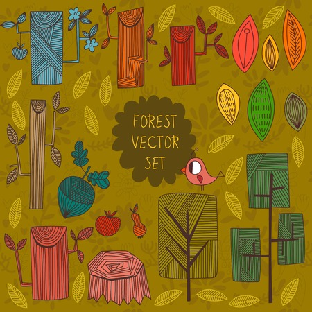 acorn: Geometric vector set. Forest elements-tree, trunk, branches, leaves and acorn