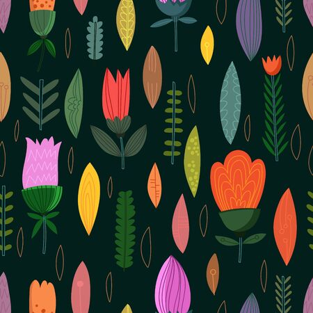 Cute seamless pattern with flowers. Spring vector background in bright colors. Seamless pattern can be used for wallpapers, pattern fills, web page backgrounds, surface textures.