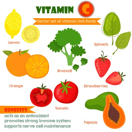 rich in vitamins: Vitamins and Minerals foods Illustrator set 1.Vector set of vitamin rich foods.Vitamin C-lemon, broccoli, oranges, spinach, strawberries, tomato and papaya