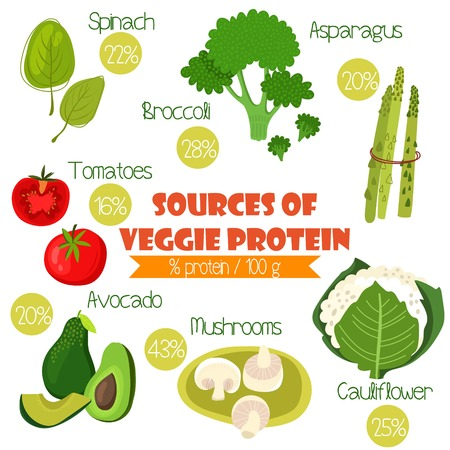Superfoods set 2- Sources of Veggie Protein (% protein/ 100g). Tomatoes, cauliflower, broccoli, spinach, avocado,asparagus and mushrooms Stock Illustratie