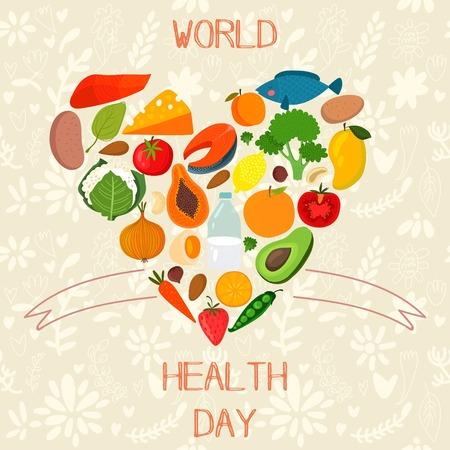 alegria: Concepto de tarjeta Vector - Día Mundial de la Salud.
