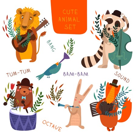 animal  bird: Cute animal set.Cartoon animals playing on various musical instruments.Lion, bear, raccoon, fox, bird, rabbit in vector