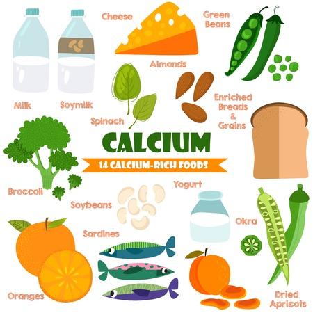 leche de soya: Vitaminas y Minerales alimentos Illustrator establecen 15.Vector conjunto de 14 alimentos ricos en calcio. El calcio de la leche, leche de soya, brócoli, naranjas, soja, sardinas, yogur, okra, espinaca, queso, judías verdes y otros