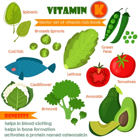 Vitamins and Minerals foods Illustrator set 12.Vector set of vitamin rich foods. Vitamin K- spinach, brussels sprouts, lettuce,green peas, cod, broccoli, cauliflower, tomatoes and avocado Banco de Imagens - 43043925
